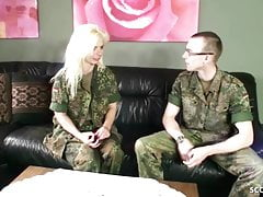 ARMY MILF with Hairy Pussy Fucks Young Boy Soldier - German